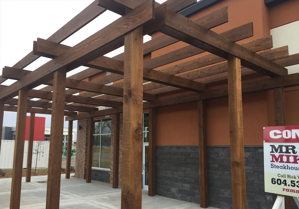 mr. Mikes restaurant pergola commercial post and beam