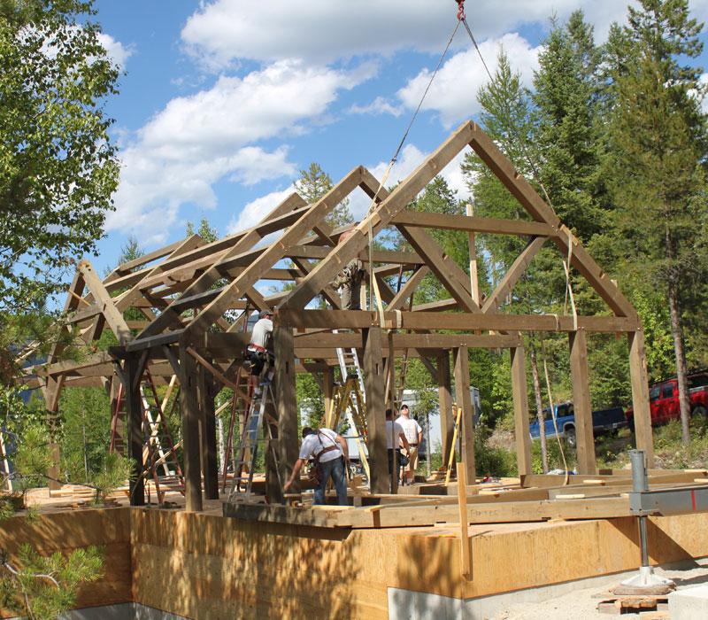 timberrame home build montana usa
