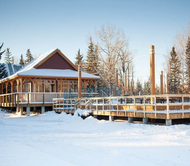 timber frame public space skating rink calgary